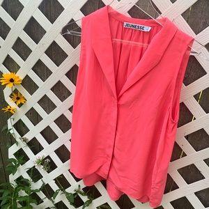 JEUNESSE FANNIE SLEEVELESS Silk BLOUSE Hot Pink S